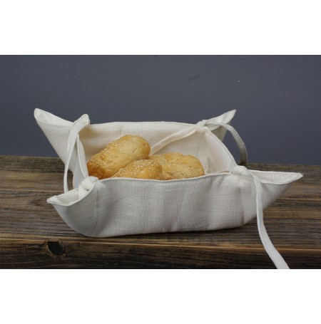 Rustic White Linen Kitchen Storage Tray / Bread Basket