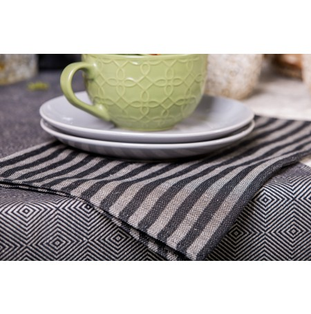 Black-Gray Striped Linen-Cotton Placemat