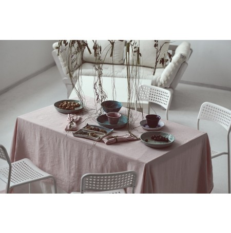 Natural Stone Washed Rose Pink Linen Tablecloth