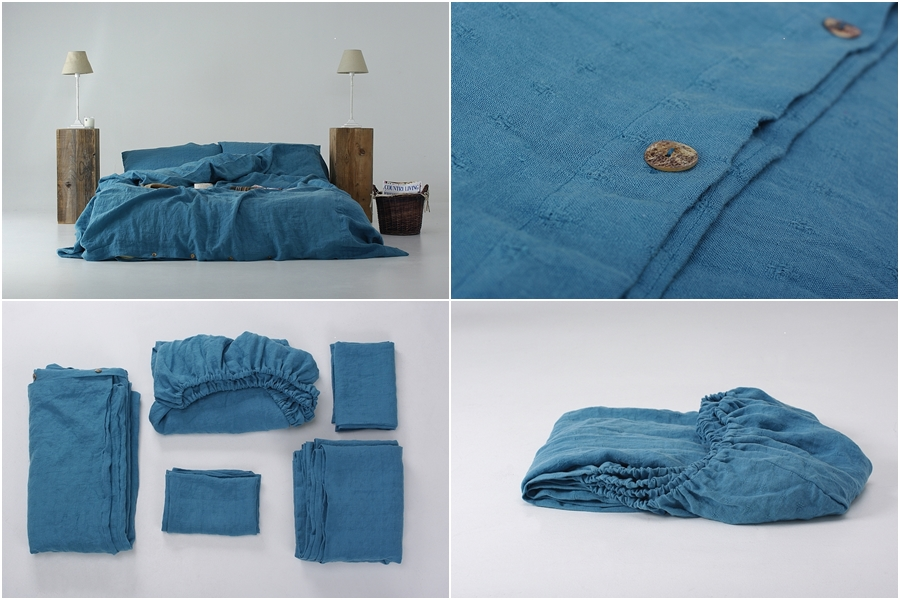 Stone Washed Blue Linen Bedding Set