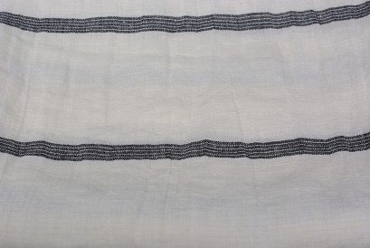 Linen Huckaback Beach Towel White Gray Striped
