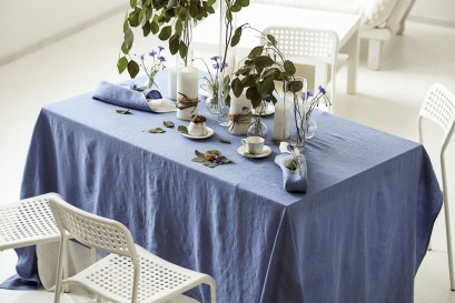 Natural Stone Washed Azure Blue Linen Tablecloth