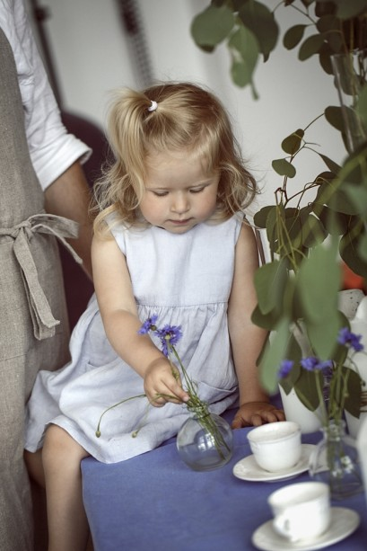 Pale sky blue little linen girls dress