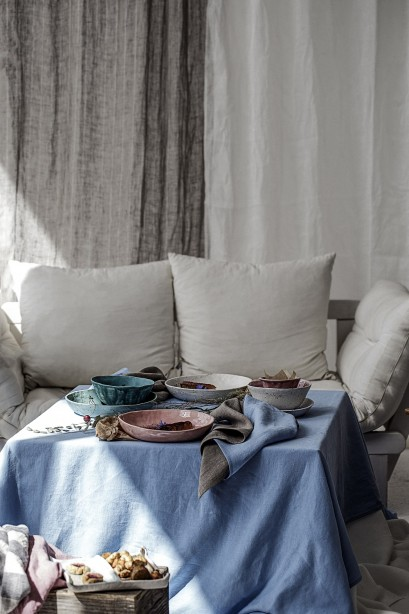 Natural Striped 100 % Linen Curtains