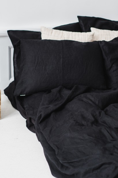 Black Linen Fitted Sheet