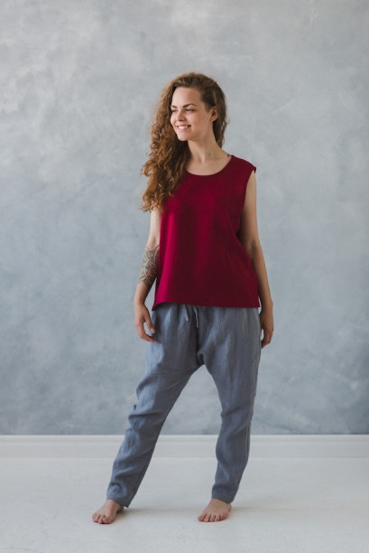 Linen blouse red