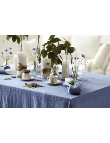 Natural Stonewashed Dusk Blue Linen Tablecloth