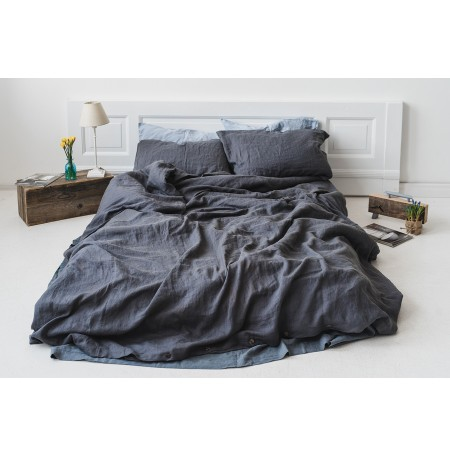 Graphite Gray Stonewashed Linen Bedding Set