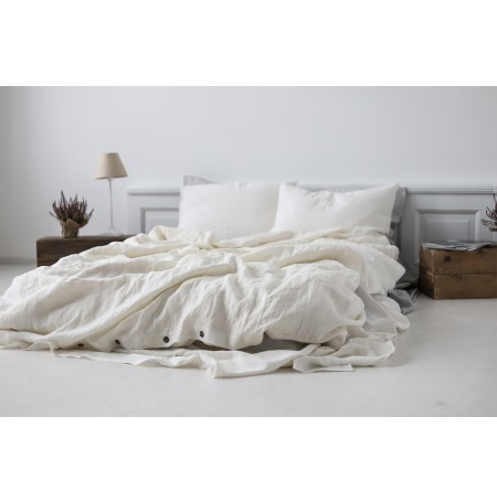 Off White Stonewashed Linen Bedding Set