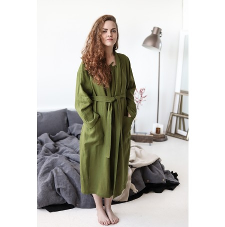 Linen Bathrobe With Pockets