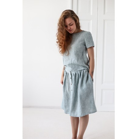 Linen Skirt With Buttons