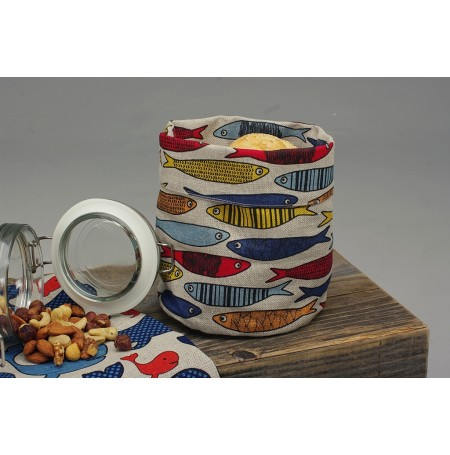 Linen Kitchen Storage Basket Fishes