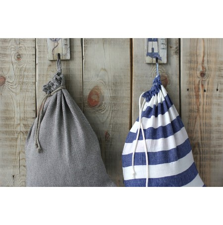 Linen laundry bag marine