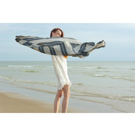 Linen Huckaback Beach Towel Natural Gray Striped