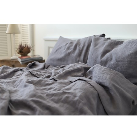 Neutral Gray Stonewashed Linen Bedding Set