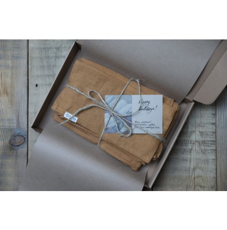 Set of 3 Linen Bath Towels in gift box