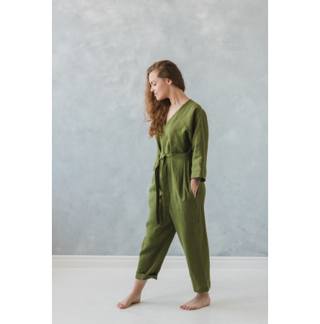 linen jumpuits green