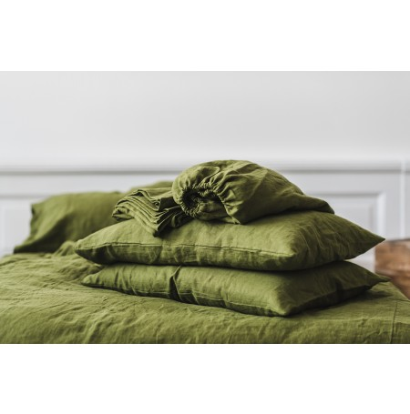 Linen Fitted Sheet in Green Moss