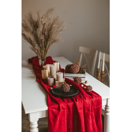Natural Stonewashed Deep Red Linen Tablecloth