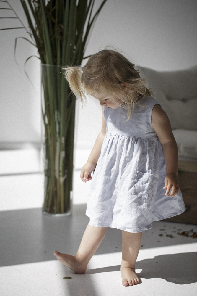 Blue linen girls dress
