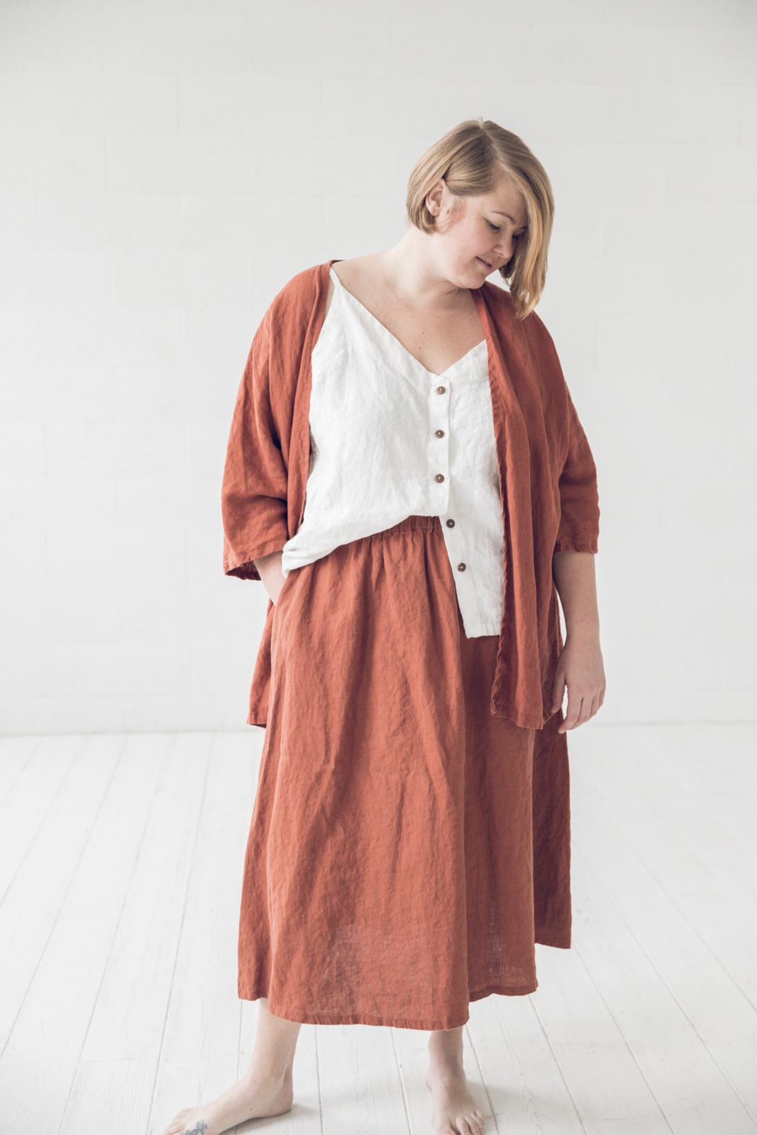 pluse size linen skirt, top, cardigan